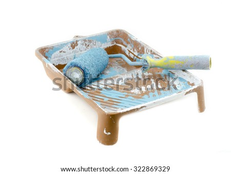 isometric view blue used roller paint brush on dirty tray isolated on white background - stock photo