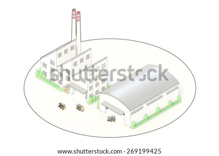 Isometric view of Factory and warehouse - stock photo