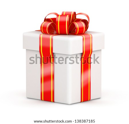 Isometric view on white gift box with red ribbons on white background