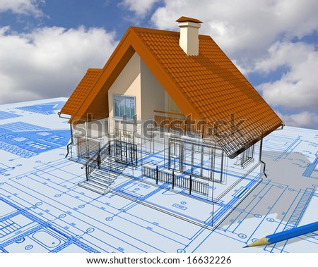 Isometric view the residential house on architect?s drawing. - stock photo