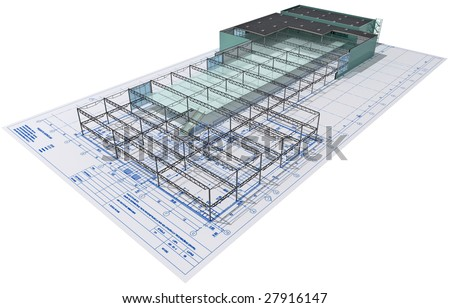 Isometric view the skeleton of an industrial building on architect?s drawing. - stock photo