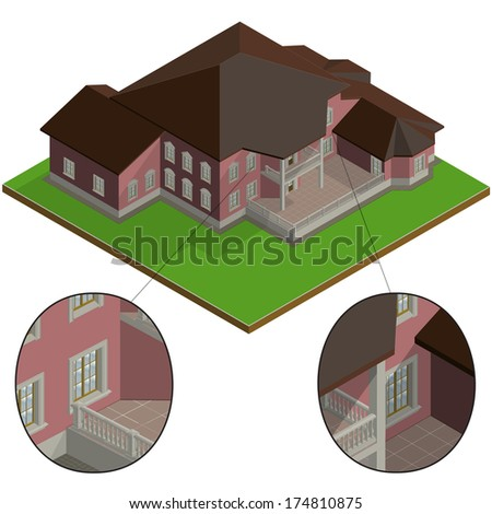 isometric villa with high detailed stone decoration