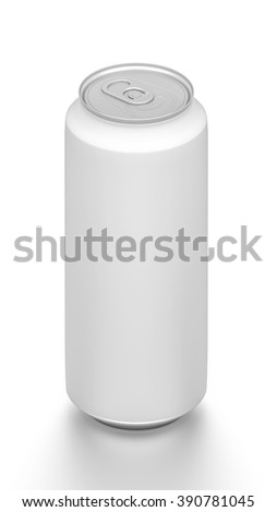 Isometric white tall blank beverage can isolated on white background.