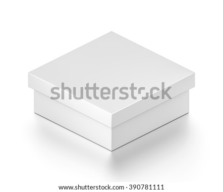 Isometric white wide rectangle blank box with cover isolated on white background. - stock photo