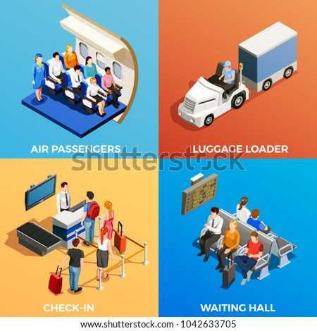 Isometric 2x2 design concept with set of scenes with people at airport and on board 3d isolated  illustration