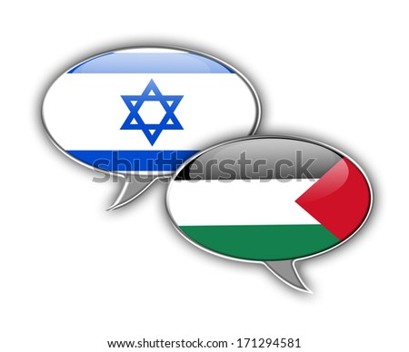 Israel and palestinian speech bubbles face to face, symbol for the relationship between the two countries. - stock photo