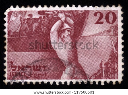 ISRAEL - CIRCA 1950: A stamp printed in Israel, shows arrival of the first settlers in Palestine before the establishment of Israel, devoted to second Independence Day of Israel, circa 1950 - stock photo