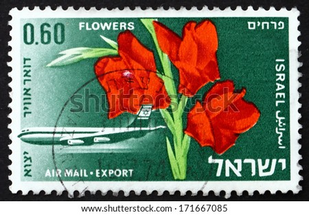 ISRAEL - CIRCA 1968: a stamp printed in the Israel shows Boeing 707 and Gladiolus Flower, circa 1968 - stock photo