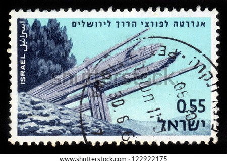 ISRAEL - CIRCA 1967: stamp printed in Israel, shows monument dedicated to the memory of those who broke through to Jerusalem, Memorial Day for the Fallen of Israel's Defence Army , circa 1967