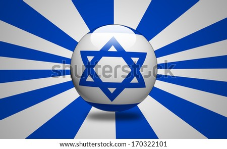Israel Flag illustration isolated on white and blue striped background. - stock photo