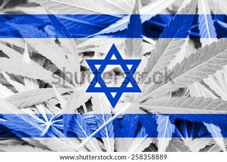 Israel Flag on cannabis background. Drug policy. Legalization of marijuana - stock photo