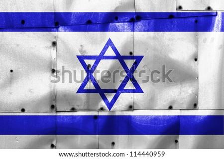 Israel flag on old plane metal plate - stock photo
