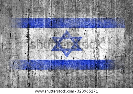 Israel flag painted on background texture gray concrete - stock photo