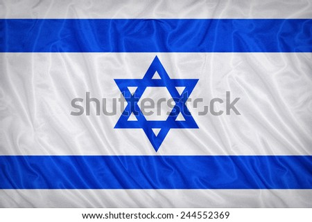 Israel flag pattern on the fabric texture ,vintage style - stock photo