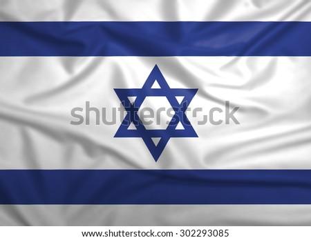 Israel flag, three dimensional render, satin texture - stock photo
