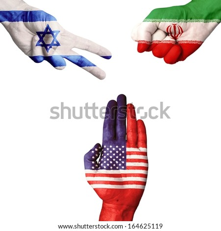 Israel Iran USA Rock-Paper-Scissors  - stock photo