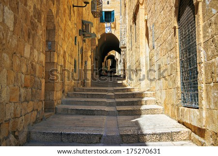 Israel, Jerusalem, stone streets - stock photo