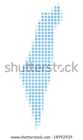 Israel map square mosaic. Easy to recolor. - stock photo