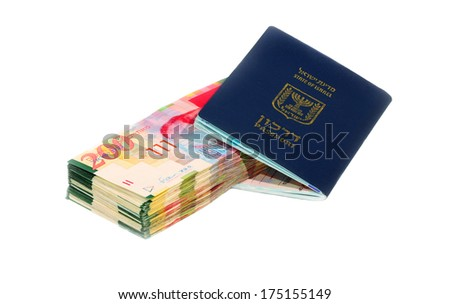 Israel Passport with Shekel Bills - stock photo