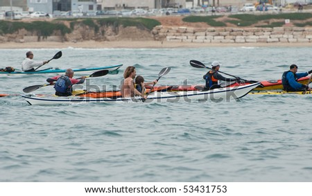 ISRAEL, TEL-AVIV-JAFFA, MAY 5: Participants in the Open Israel championship of sea kayaking. on may 5, 2010 in Tel-Aviv - Jaffa
