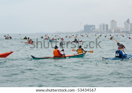 ISRAEL, TEL-AVIV-JAFFA, MAY 5: Participants in the Open Israel championship of sea kayaking. on may 5, 2010 in Tel-Aviv - Jaffa - stock photo