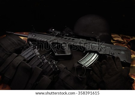 Israeli assault rifles with ammunition  - stock photo