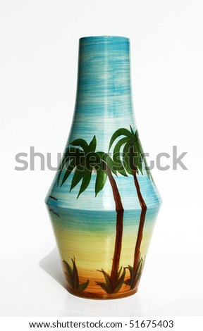 Israeli big ceramic glazed vase of 1950-th years with realistic  image of Israeli landscape on the vase surface: sea, sun, sand and palm trees. Isolated on  white.