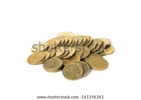 Israeli coins isolated on white background - stock photo