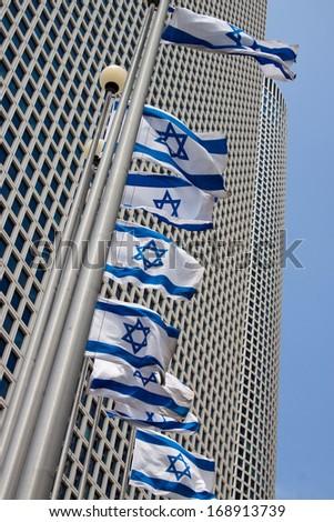 Israeli flags in Tel-Aviv - stock photo
