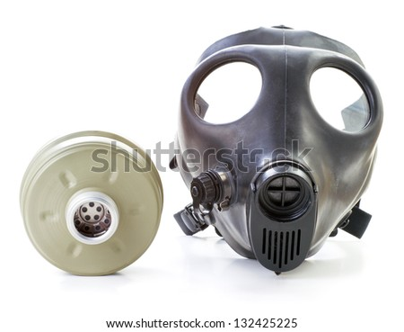 Israeli gas mask and filter  on white background