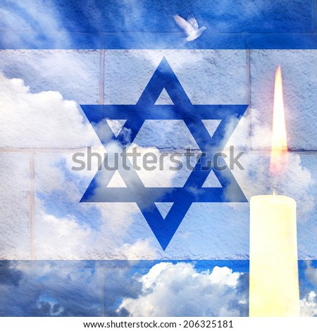 Israeli national flag wall defense and sky background with burning candle - stock photo
