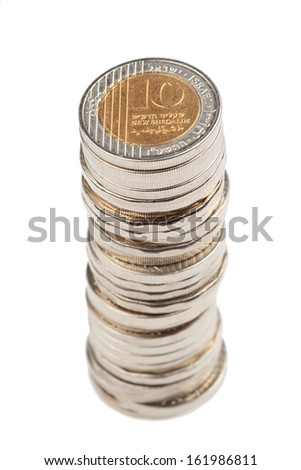 Israeli Shekel coin stack, isolated on white - stock photo