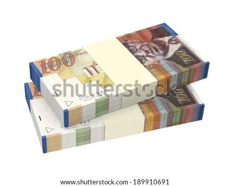 Israeli Shekel money isolated on white background. Computer generated 3D photo rendering. - stock photo