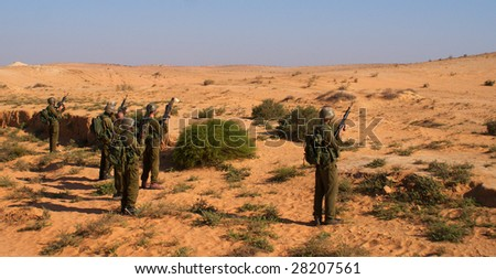 israeli soldiers attacks - war against terror - stock photo