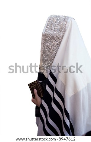 Israelite in tallit, that is prayed in western wall in Jerusalem(isolated). - stock photo