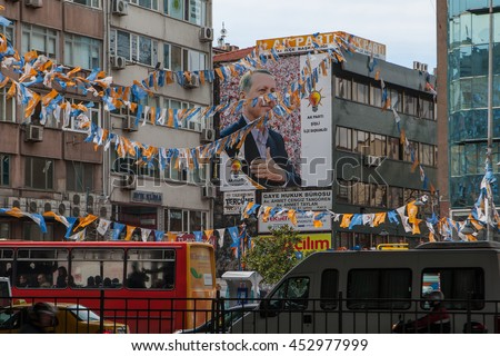 ISTANBUL - APR 11: Portrait of the President of Turkey Recep Tayyip Erdogan on the street. Turkish elections in Istanbul, Turkey. April 11, 2011. - stock photo