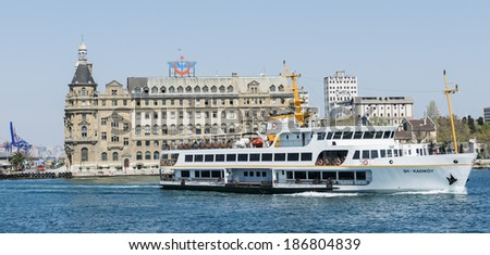 ISTANBUL - APRIL 10: Haydarpasa Central Train Station on April 10, 2014 in Istanbul. Nearly 150,000 passengers use ferries daily in Istanbul, due to easy access to two different continents.  - stock photo