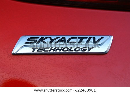 ISTANBUL - APRIL:Mazda skyactiv technology close-up logo April, 2017 Istanbul. Mazda Motor Corporation is a Japanese multinational automaker founded.