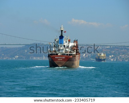 ISTANBUL - APRIL 9: Ship in the Bosphorus strait on April 9, 2014 in Istanbul, Turkey.