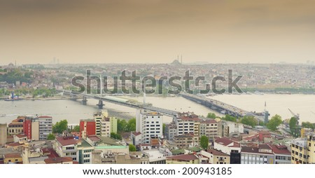 ISTANBUL - APRIL 27, 2014: Skyline of Istanbul at dusk. With 14 million residents it is the largest city or turkey