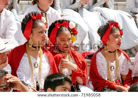 """ISTANBUL - APRIL 23: Unidentified 12 years old Mexican children in traditional costume wait their turn on """"National Sovereignty and Children Day"""" festival, April 23, 2010 in Istanbul, Turkey - stock photo"""
