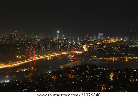 Istanbul city lights and bosphorus bridge