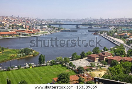 Istanbul city, Turkey. Panoramic view of Golden Horn inlet from Eyup-Pierre Loti Point - stock photo