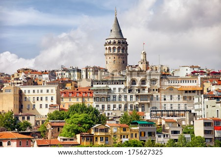 Istanbul cityscape in Turkey with Galata Tower, 14th-century city landmark in the middle.  - stock photo