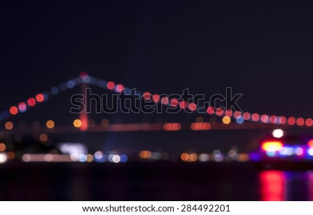 Istanbul cityscape view with bokeh. Blurred abstract background lights.