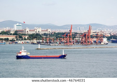 Istanbul commercial dock with oil tanker