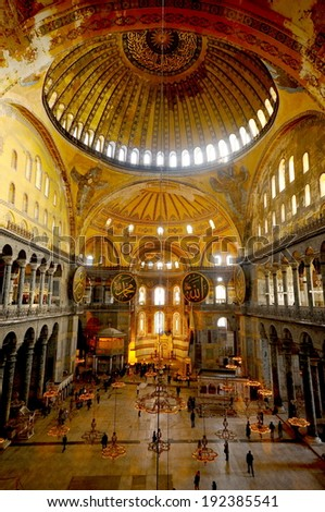 ISTANBUL - DECEMBER 13: Interior architecture of the Hagia Sophia on December 13,2011, Istanbul, Turkey.  Hagia Sophia is the greatest monument of Byzantine Culture.  It was built in the 6th century.  - stock photo