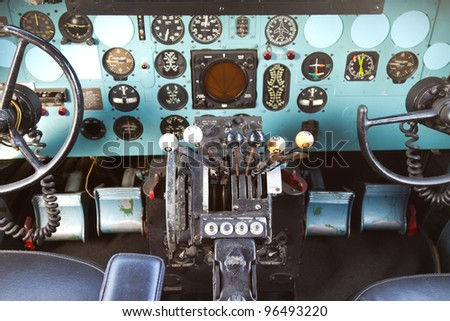ISTANBUL - FEBRUARY 11:  Cockpit of Douglas DC-3 at Rahmi M. Koc Museum on February 11, 2012 Istanbul, Turkey. Over 16,000 Douglas DC-3 was produced 1936 to 1950.
