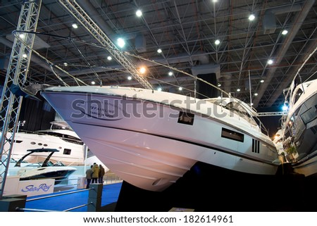 ISTANBUL - FEBRUARY 22: Fairline Targa 38 Open in CNR Avrasya Boat Show on February 22, 2014 in Istanbul, Turkey.