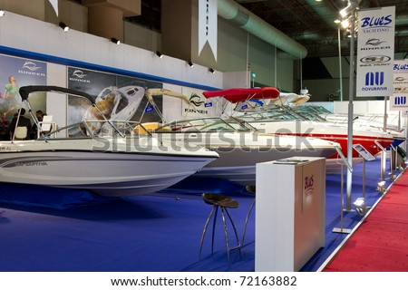 ISTANBUL - FEBRUARY 20: Speedboats during the 5th Sea Vehicles, Equipment and Accessories Exhibition on February 20, 2011 in Istanbul, Turkey.
